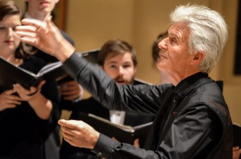 Simon Carrington led Pacific University's Choir of the West.