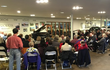 Kramer's Portland performance took place at a car dealership. Photo: Dan Wasil.