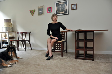 Eva Lake and studio companion. Photo: Sabine Poole