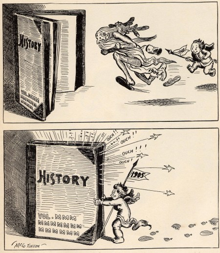 "Baby New Year chasing the old year into the history books, John T. McCutcheon, from the book ""The Mysterious Stranger and Other Cartoons by John T. McCutcheon,"" New York; McClure, Philips & Co., 1905. Wikimedia Commons"
