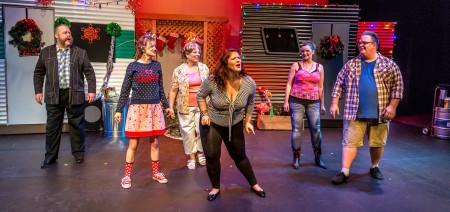 From left: Andy Mangels as Jackie; Kelly Stewart as Pickles; Sherrie Van Hine as Betty; Elizabeth Hadley as Darlene; Sheila Bruhn as Lin; Steve Coker as Rufus. Photo: Paul Fardig