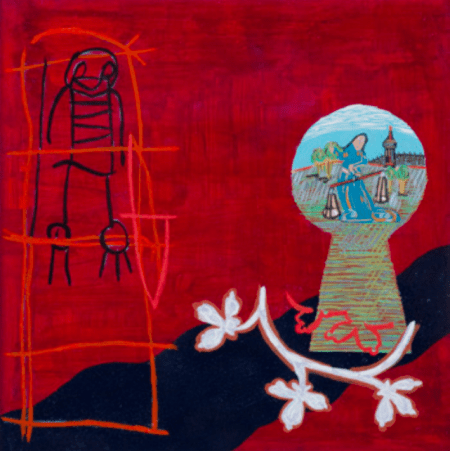 """""""A Child's Wish,"""" 1996, acrylic, gouache, and mixed media on paper, 15 x 15"""" (framed dimensions), private collection. Photo: Dale Peterson."""