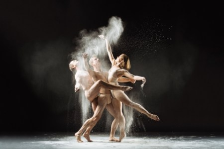 Eric Skinner, Daniel Kirk and Holly Shaw as part of skinner/kirk Dance Ensemble. Photo by Christopher Peddecord.