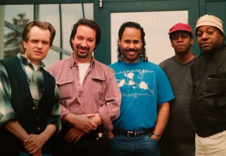 """From left: Portland stalwarts Peter Boe, Phil Baker, Ron Steen, Thara Memory with Eddie Harris. who recorded the album """"Vexatious Progressions"""" with these musicians (and Janice Scroggins, not pictured) in Wilsonville in 1994. Photo cortesy Phil Baker."""
