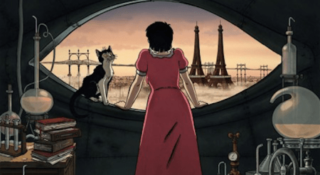 "Scene from French animated feature ""April and the Extraordinary World."""