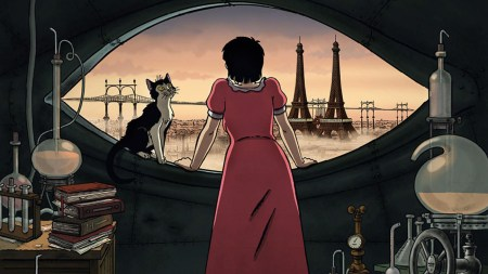 "A scene from the French animated feature ""April and the Extraordinary World."""