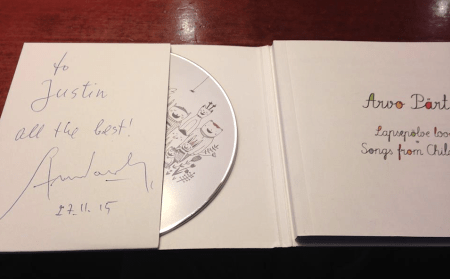 Arvo Pärt Autographed CD. Photo: Justin Graff.