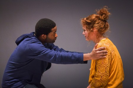 """Joseph Gibson and Rebecca James Ridenour in """"We Are Proud to Present"""" at Artists Rep/Photo by Owen Carey"""