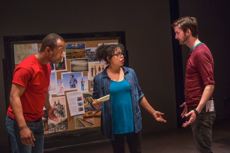 """Vin Shambry, Chantal DeGroat and Joshua Weinstein in """"We Are Proud to Present""""/Photo by Owen Carey"""