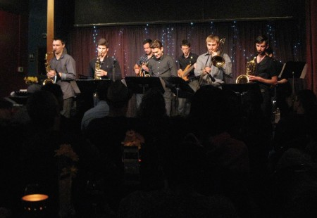 Tony Glausi's nine-piece Funk band performing at at a sold out Jazz Station in Eugene, April 2, 2016. Photo: Gary Ferrington.