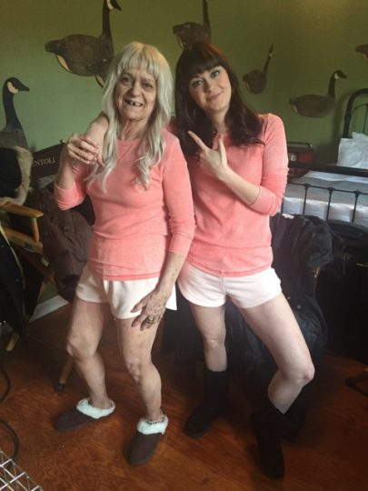 """Extra Cynthia Stowell and actor Amber Stonebraker as the 90-year-old and 24-year-old Summer Blake, waiting to go on camera for the """"Skin Deep"""" episode of Season 5 of NBC's """"Grimm."""""""