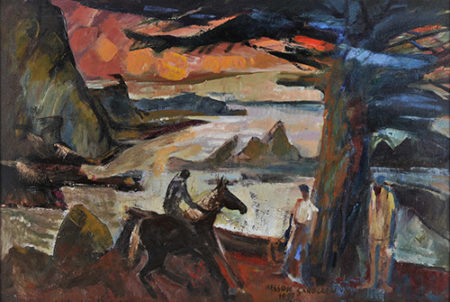 "Nelson Sandgren, ""Evening Rider by the Sea,"" 1997, oil on canvas, 25 x 37 in., collection of the Hallie Ford Museum of Art, Stephan Soihl Art Acquisition Fund, 2000.055.002. Photo by Dale Peterson."