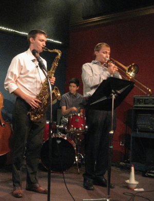 Josh Hettwer (tenor sax), Matt Hettwer (trombone), Ken Mastrogiovanni (drums). Photo: G. Ferrington.