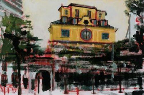 "Stephen Hayes, ""Paris, Bataclan (11.15.15)"", oil on canvas, 2016, 23 x 35 inches"