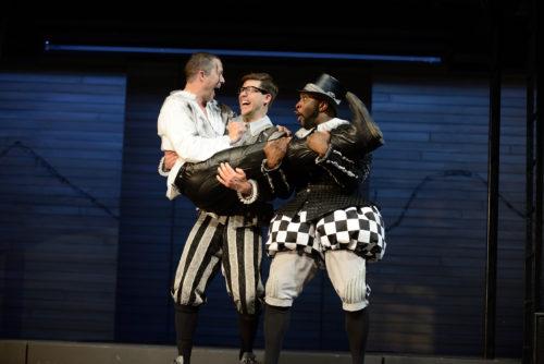 Hamlet (Danforth Comins) greets his friends Rosenkrantz (Dylan Paul) and Guildenstern (Cedric Lamar). Photo: Dale Robinette, Oregon Shakespeare Festival