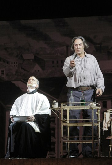 Kevin Burdette as Judge Turpin and David Pittsinger as Sweeney Todd. Photo: Portland Opera.