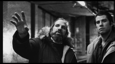 Brian De Palma and John Travolta on set of BLOW OUT as seen in DE PALMA.