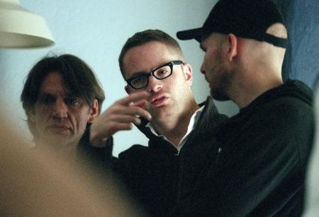 "Director Nicolas Winding Refn on the set of ""Pusher 2."""