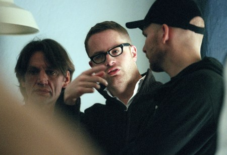 "Director Nicolas Winding Refn on the set of ""Pusher 2."""