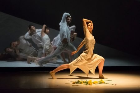 "A moment in Northwest Dance Project's ""Woolf Papers,"" choreographed by Sarah Slipper/Photo by Blaine Covert"