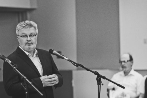 Requiem composer Sir James MacMillan at a pre-concert talk. Photo: Athena Delene