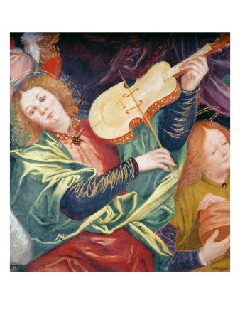 "An angel plays a viola da gamba in ""The Concert of Angels"" by Gaudenzio Ferrari, 1534-1536"