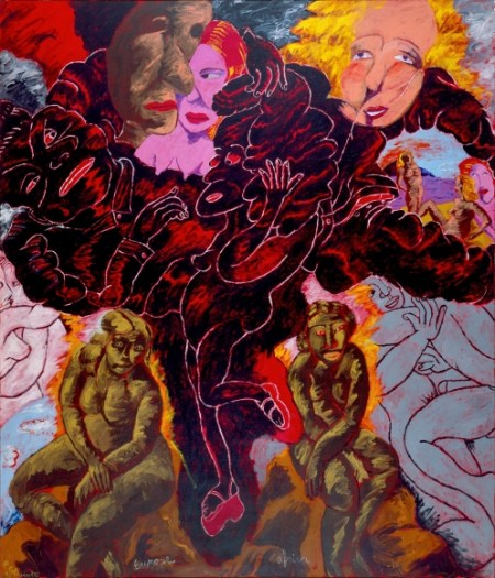 """Robert Colescott, """"A Fool There Was... Europe–Africa"""", 1992, acrylic on canvas, 84 x 72 inches/Courtesy Laura Russo Gallery"""