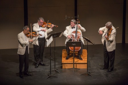 The Emerson Quartet playing last summer at Chamber Music Northwest/Photo by Tom Emerson