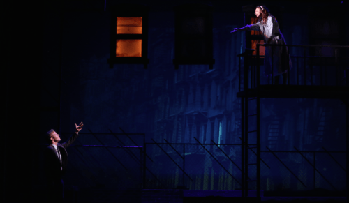 Mia Pinero and Andrew Wade: the balcony scene. Photo: Liz Wade