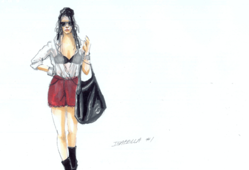 Costume sketch for Isabella, the Italian Girl (Aleksandra Romano). Costume design for Portland Opera by Sue Bonde.