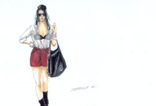 Costume sketch for Isabella, the Italian Girl (Aleksandra Romano). Costume design for Portland Opera by Sue Bonde.