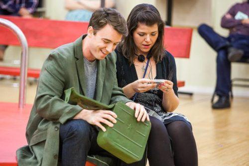 "Alexander Elliot) (Onegin) and Jennifer Forni (Tatiana) during a rehearsal break: ""Onegin"" with a Gen X twist. Photo: Jonathan Ley"