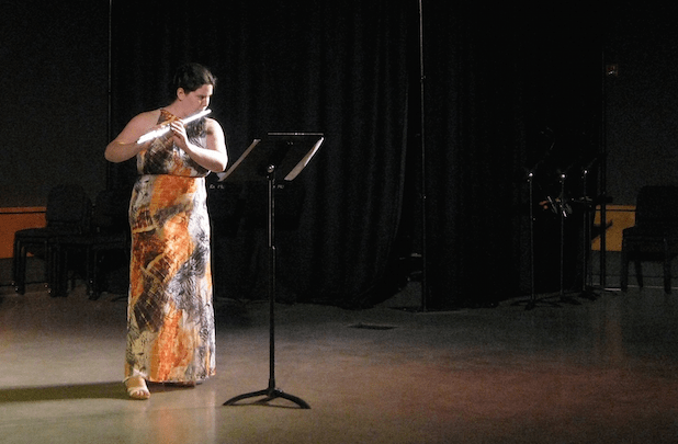 "Composer/performer Rebecca Larkin (flute) plays ""Monkey Puzzel"" by Nathan Engelmann."