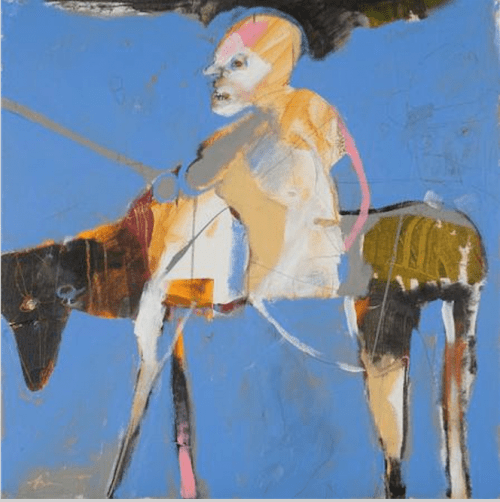 """""""Rider with V,"""" Rick Bartow, 2015, acrylic on canvas, 30 x 30 inches. Froelick Gallery."""