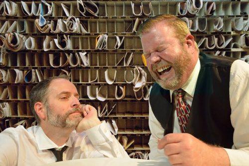 """Todd Van Voris (right) and sean Doran in """"Hughie."""" Imago Theatre photo."""