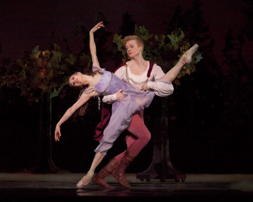 "Gavin Larsen and Adrian Fry (now with Ballet West) in ""A Midsummer Night's Dream"" at Oregon Ballet Theatre. Photo: Blaine Truitt Covert"
