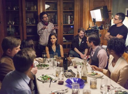 "Director Joshua Marston and cast on the set of ""Complete Unknown"""