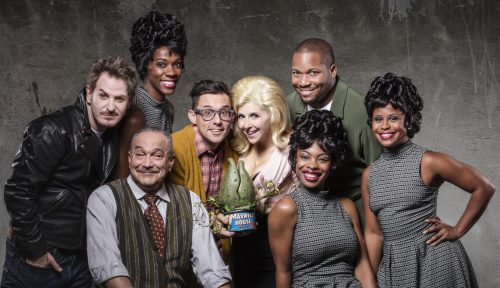 """Aiding and abetting world domination at Portland Center Stage: the cast of """"Little Shop of Horrors."""" Photo: Kate Szrom"""