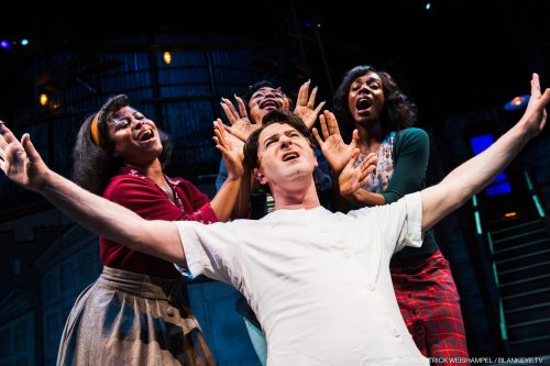 Jamison Stern as Orin the dentist, surrounded by (l-r): Alexis Tidwell as Crystal, Johari Nandi Mackey as Chiffon and Ebony Blake as Ronnette. Photo: Patrick Weishampel