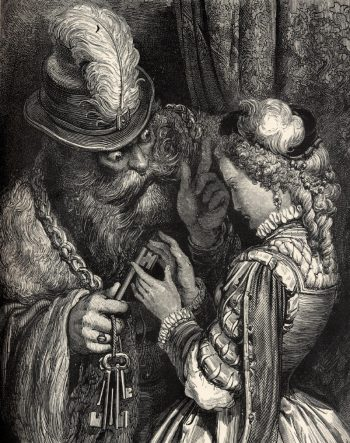 "Gustave Doré, woodcut 33 x 27 cm ""Barbe Bleue"" (""Bluebeard""), published for the first time in ""Les Contes de Perrault"" (Paris, Jules Hetzel, 1862)."