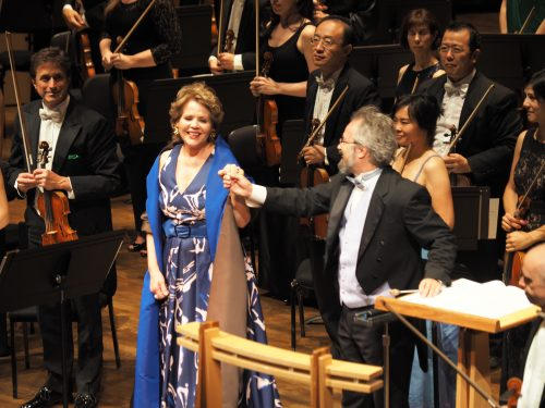 Renée Fleming and Oregon Symphony conductor Carlos Kalmar take their bows.
