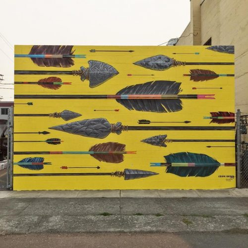 "Fontana's outdoor mural ""Arrows,"" at Southeast Ninth Avenue and Hawthorne Boulevard in Portland."