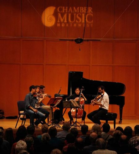 Yevgeny Yontov joined the Zorá Quartet to play Shostakovich at one of CMNW's open rehearsals. Photo: Kimmie Fadem.