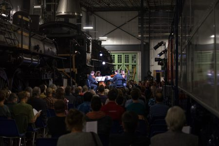Third Angle New Music played string quartets by Steve Reich at Oregon Rail Heritage Museum. Photo: Jacob Wade.