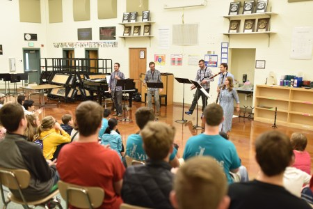 Akropolis outreach presentation at VIBE East Winds during Chamber Music Northwest's 2016 Summer Festival. Photo: Jonathan Lange.