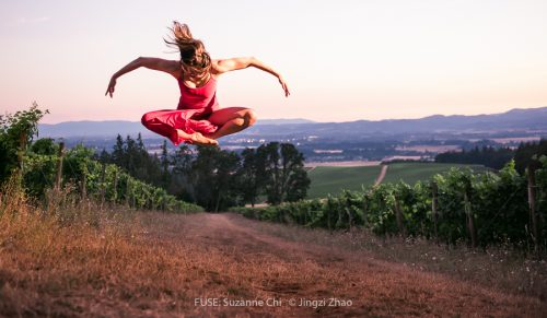 Dancer Suzanne Chi, over the Willamette Valley. Photo: Jingzi Zhao