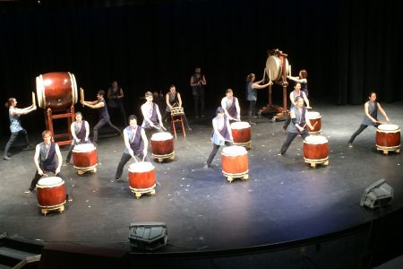 Portland Taiko performed at Catlin Gabel school.
