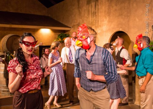 """Founders Cassandra and Ty Boice (foreground) starred as Beatrice and Benedick in a spritzy, screwball-comedy feeling """"Much Ado About Nothing"""" in July 2015. Russell J Young photo"""