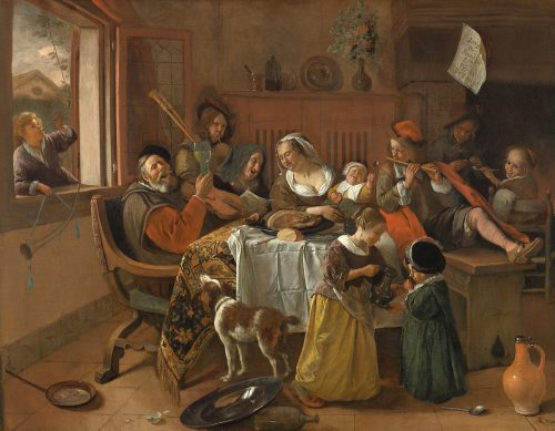 "No, this is not the family in ""The Humans."" But things do get rowdy. Jan Steen, ""The Merry Family,"" 1668, oil on canvas, 43.5 x 55.5 inches, Rijksmuseum, Amsterdam / Wikimedia Commons."