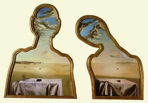 "All in the framing: Salvador Dali, ""Couple with Their Heads Full of Clouds,"" 1936. Museum Boijmans van Beuningen, Rotterdam; © Salvador Dali, Gala-Salvador Dali Foundation"